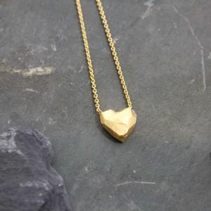Kette 925/- Silber mit flachem Herz, Feingold vergoldet