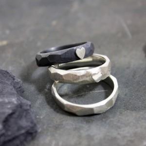 Ringe 925/- Silber mit und ohne Herz ; geschwärzt; schmal
