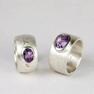 Ringe 925/- Silber mit Amethysten und Brillanten in Rotgold gefasst